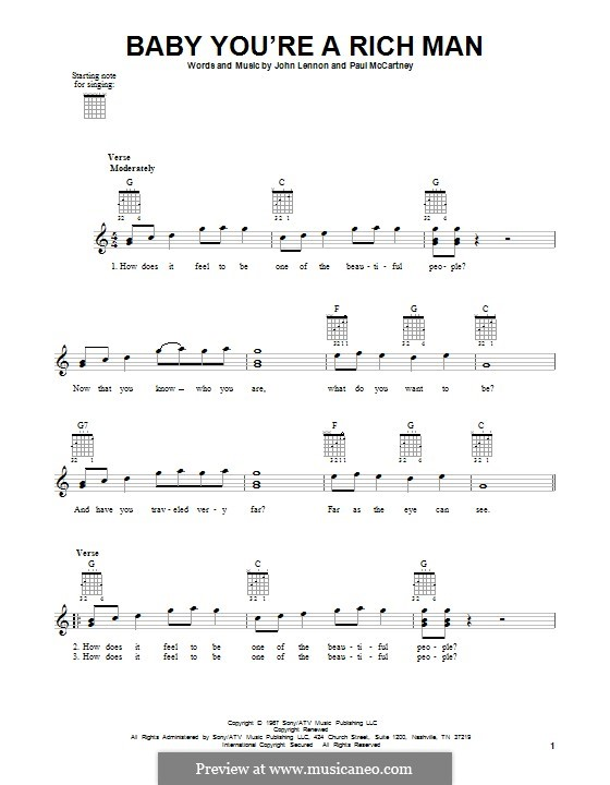 Baby You're a Rich Man (The Beatles): For guitar with tab by John Lennon, Paul McCartney