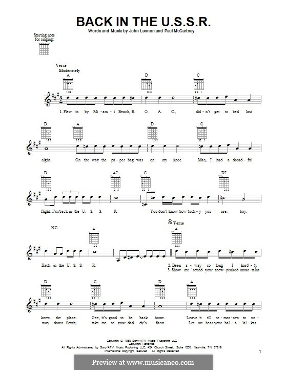 Back in the USSR (The Beatles): For guitar with tab by John Lennon, Paul McCartney
