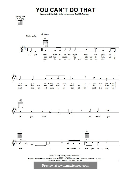 You Can't Do That (The Beatles): For guitar with tab by John Lennon, Paul McCartney