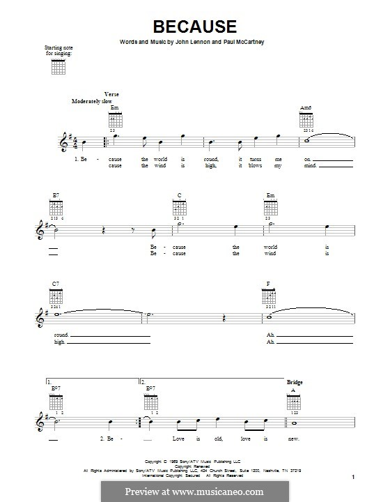 Because (The Beatles): For guitar with tab by John Lennon, Paul McCartney