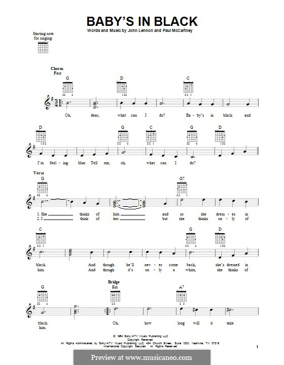 Baby's in Black (The Beatles): For guitar with tab by John Lennon, Paul McCartney