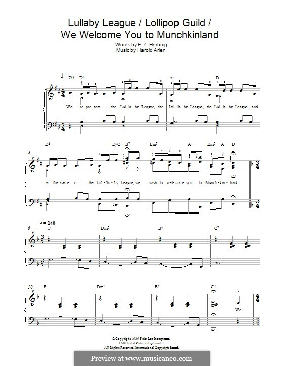 Lullaby League/Lollipop Guild/We Welcome You To Munchkinland (from The Wizard of Oz): For piano by Harold Arlen