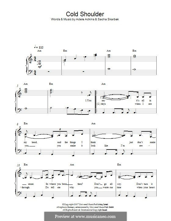 Cold Shoulder: For voice and piano by Adele