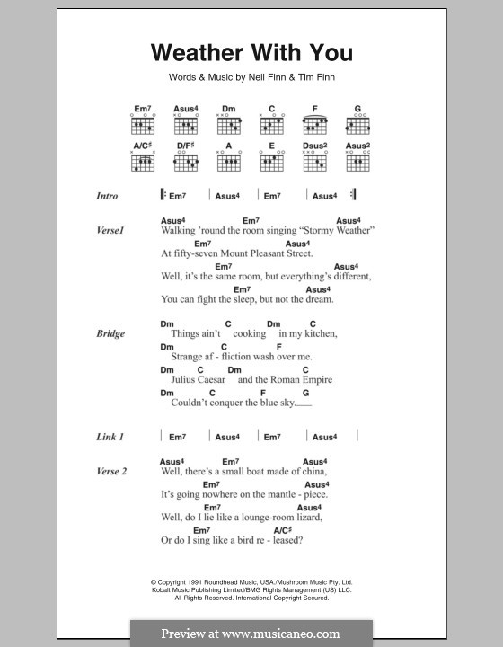 Weather with You (Crowded House): Lyrics and chords by Neil Finn, Tim Finn