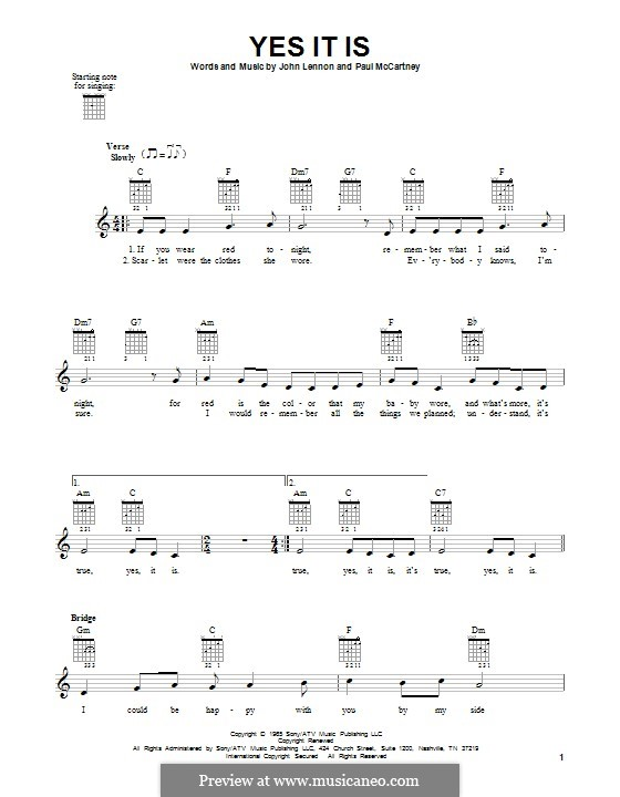 Yes It Is (The Beatles): For guitar with tab by John Lennon, Paul McCartney