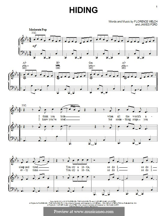 Hiding (Florence and The Machine): For voice and piano (or guitar) by James S. Ford, Florence Welch