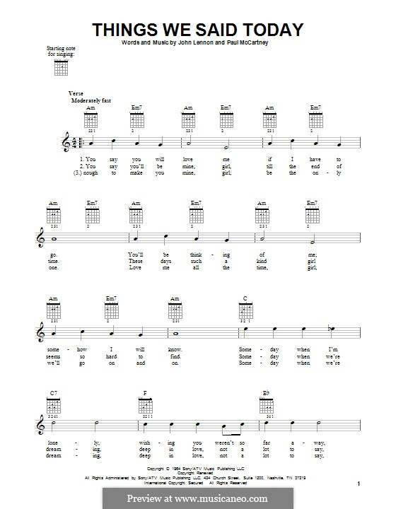 Things We Said Today (The Beatles): For guitar with tab by John Lennon, Paul McCartney
