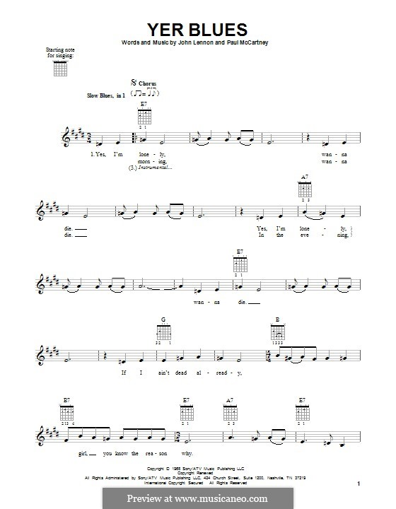 Yer Blues (The Beatles): For guitar with tab by John Lennon, Paul McCartney