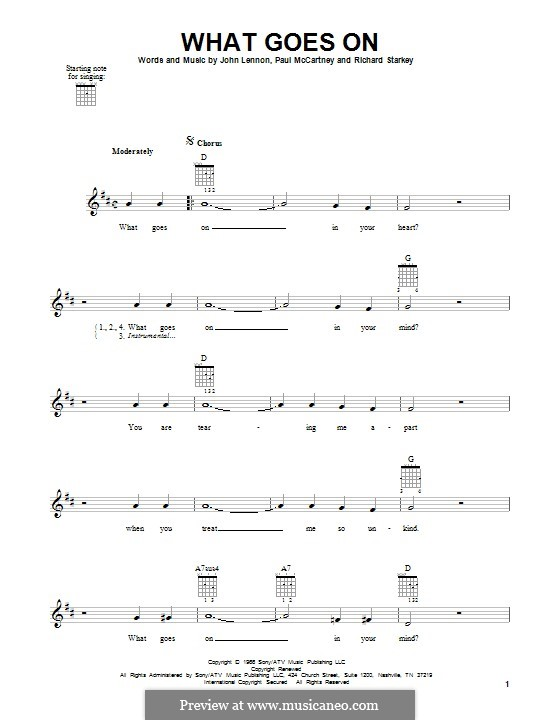 What Goes on? (The Beatles): For guitar with tab by John Lennon, Paul McCartney, Ringo Starr