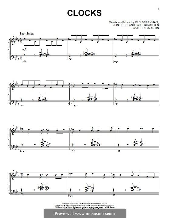 Clocks (Coldplay): For piano by Chris Martin, Guy Berryman, Jonny Buckland, Will Champion