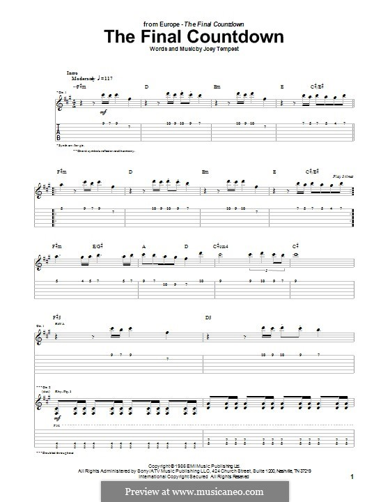 Final Countdown (Europe): For guitar with tab by Joey Tempest