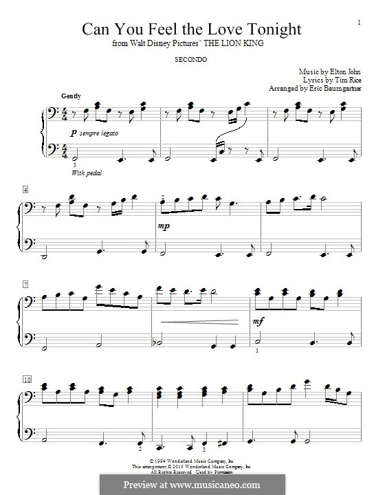 Can You Feel the Love Tonight (from The Lion King), for Piano: For a single performer by Elton John