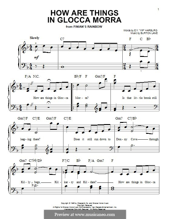 How are Things in Glocca Morra: For piano by Burton Lane