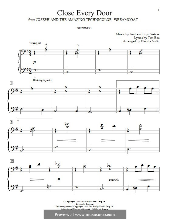 Close Every Door: For piano by Andrew Lloyd Webber