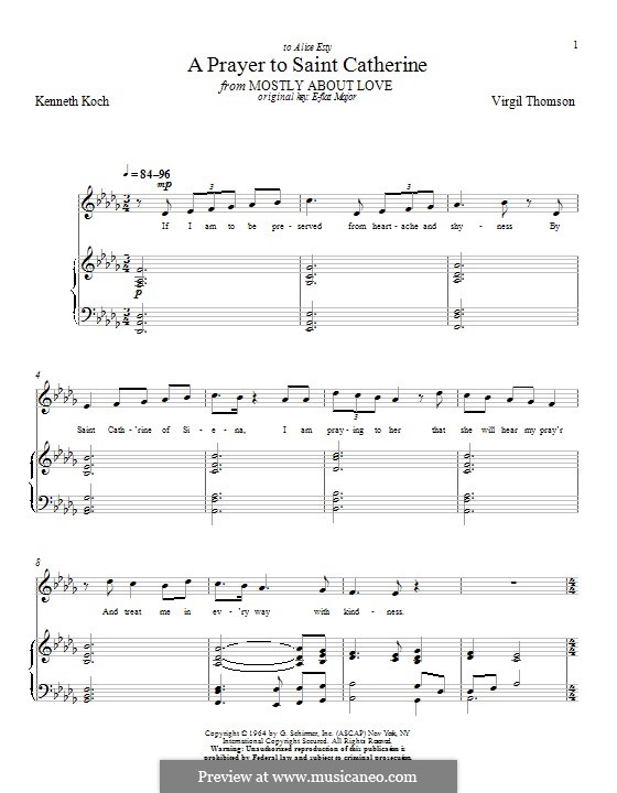 A Prayer to Saint Catherine: For voice and piano by Virgil Thomson