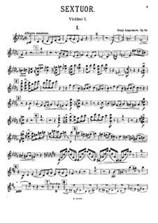 Piano Sextet, Op.63: Violin I part by Sergei Lyapunov