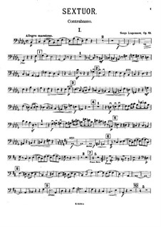 Piano Sextet, Op.63: Double bass part by Sergei Lyapunov