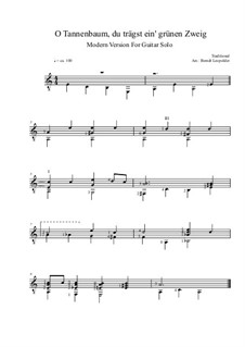 O Christmas Tree (O Tannenbaum): For guitar solo (modern version) a minor by folklore