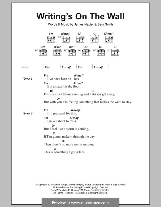 Writing's on the Wall (from James Bond: Spectre): Lyrics and chords by Samuel Smith, James Napier
