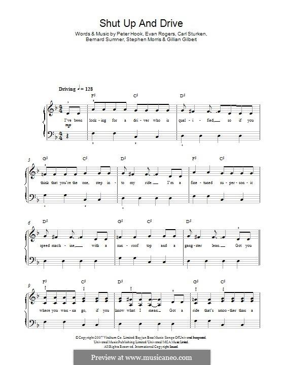 Shut Up and Drive (Rihanna): For piano by Bernard Sumner, Carl Sturken, Evan Rogers, Gillian Gilbert, Peter Hook, Stephen Morris
