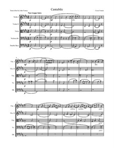 Three Pieces for Grand Organ: Cantabile, for string quintet by César Franck