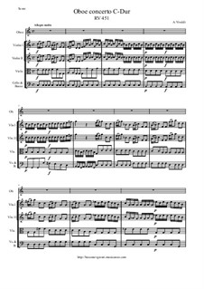 Concerto for Oboe and Strings in C Major, RV 451: Score and all parts by Antonio Vivaldi
