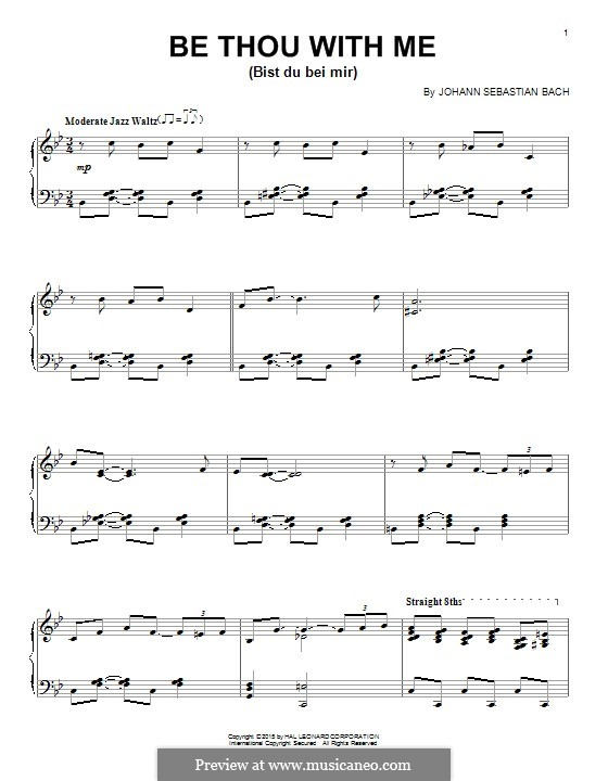 No.25 Bist du bei mir (You Are with Me), Printable scores: For piano by Johann Sebastian Bach
