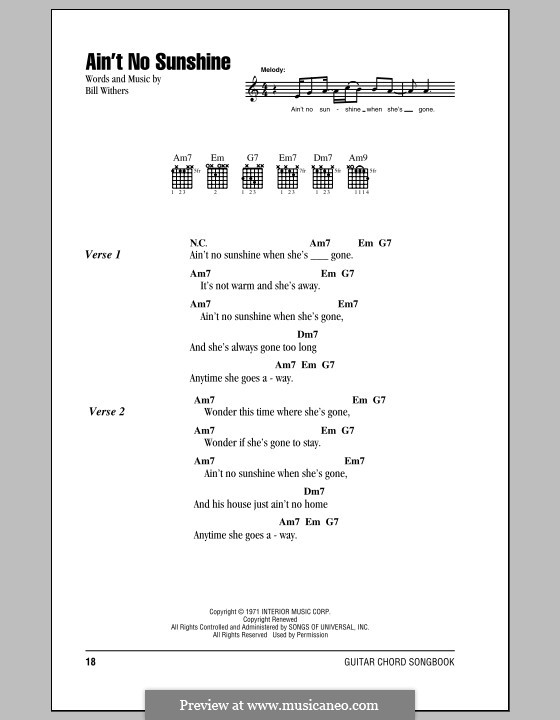 Ain't No Sunshine: Lyrics and chords by Bill Withers