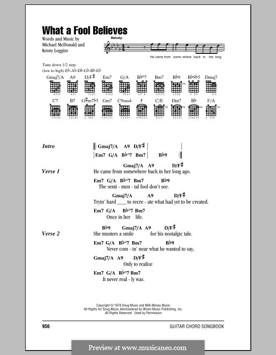 What a Fool Believes (The Doobie Brothers): Lyrics and chords by Kenny Loggins, Michael McDonald