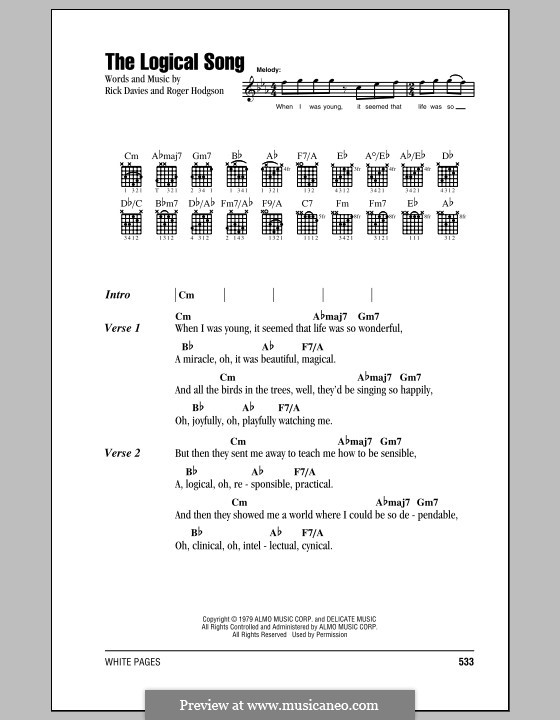 The Logical Song (Supertramp): Lyrics and chords by Rick Davies, Roger Hodgson