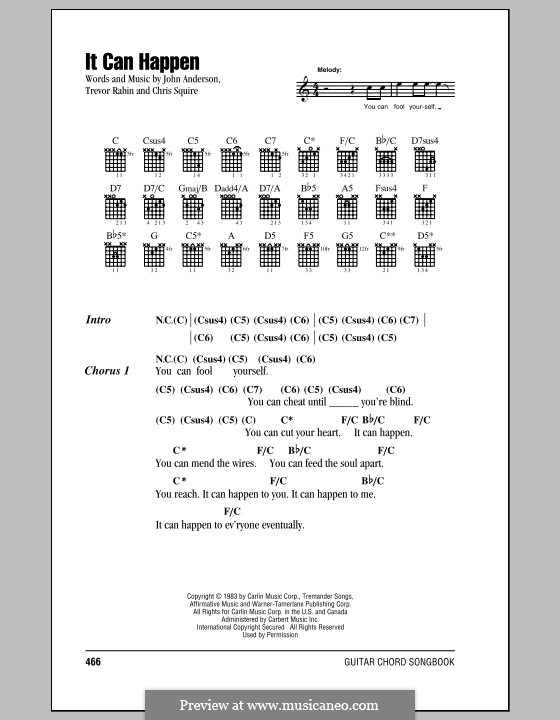 It Can Happen (Yes): Lyrics and chords by Chris Squire, Jon Anderson, Trevor Rabin