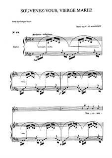 Souvenez-vous, Vierge Marie: For medium voice and piano by Jules Massenet