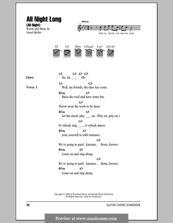 All Night Long (All Night): Lyrics and chords by Lionel Richie