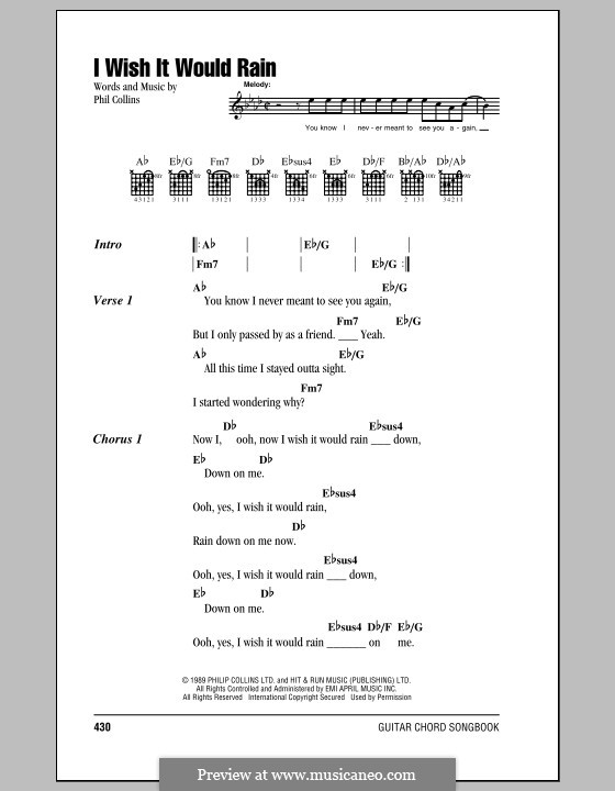 I Wish it Would Rain Down: Lyrics and chords by Phil Collins