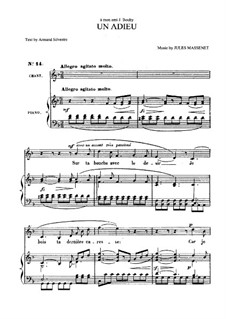 Un adieu: For medium voice and piano by Jules Massenet
