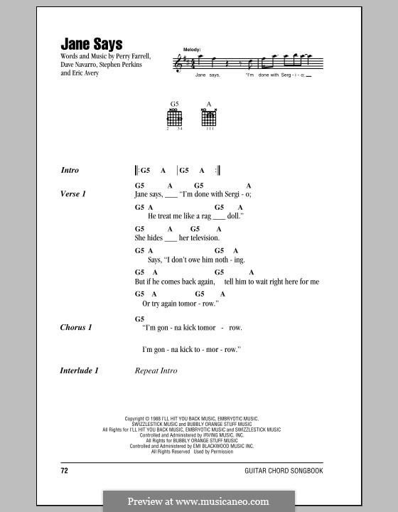 Jane Says (Jane's Addiction): Lyrics and chords by Dave Navarro, Eric Avery, Perry Farrell, Stephen Perkins