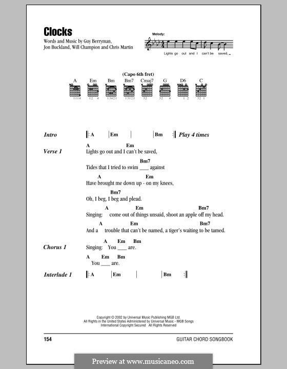 Clocks Coldplay By C Martin G Berryman J Buckland W
