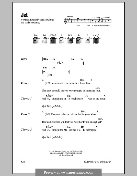Jet (Wings): Lyrics and chords by Linda McCartney, Paul McCartney