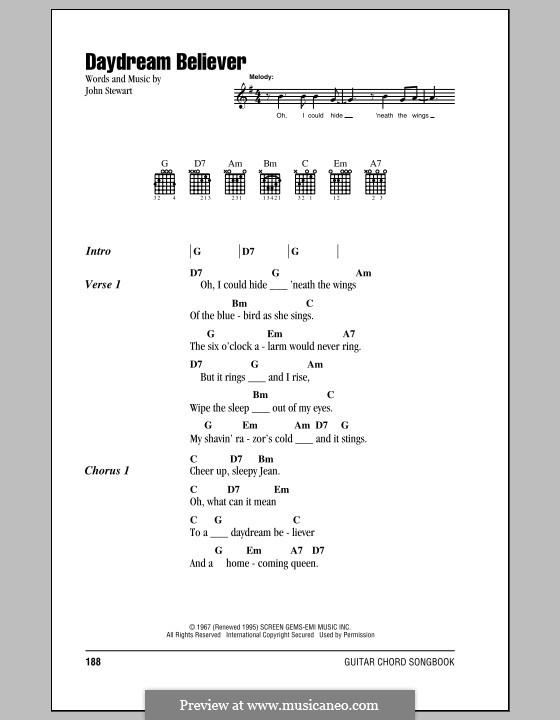 Daydream Believer (The Monkees): Lyrics and chords by John Stewart