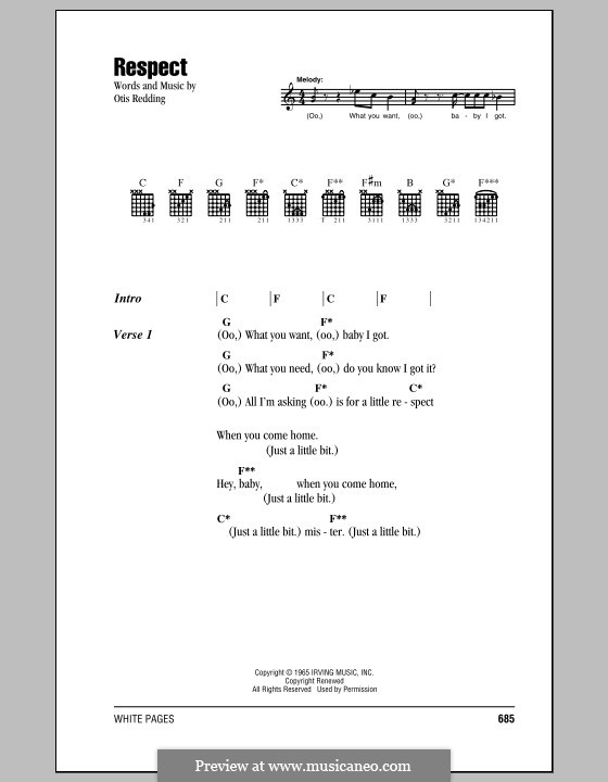 Respect Aretha Franklin By O Redding Sheet Music On Musicaneo