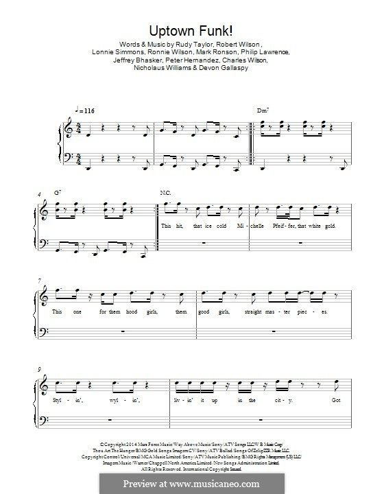 Piano uptown funk piano chords : Uptown Funk (Mark Ronson ft. Bruno Mars) by J. Bhasker, Bruno Mars ...