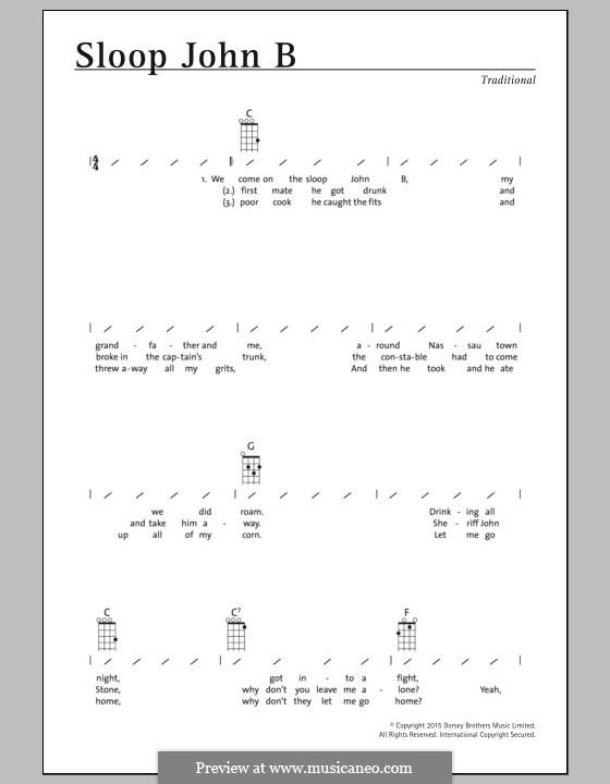 Sloop John B (The Beach Boys): For ukulele by folklore