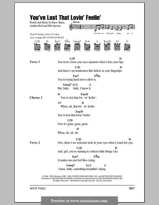 You've Lost That Lovin' Feelin': Lyrics and chords by Barry Mann, Cynthia Weil