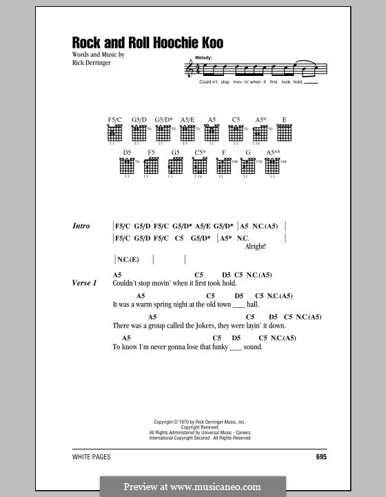 Rock and Roll Hoochie Koo: Lyrics and chords by Rick Derringer