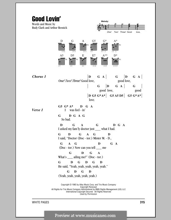 Good Lovin' (The Young Rascals): Lyrics and chords by Art Resnick, Rudy Clark