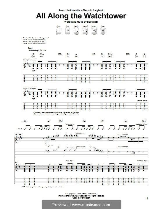 All Along the Watchtower: For guitar with tab by Bob Dylan