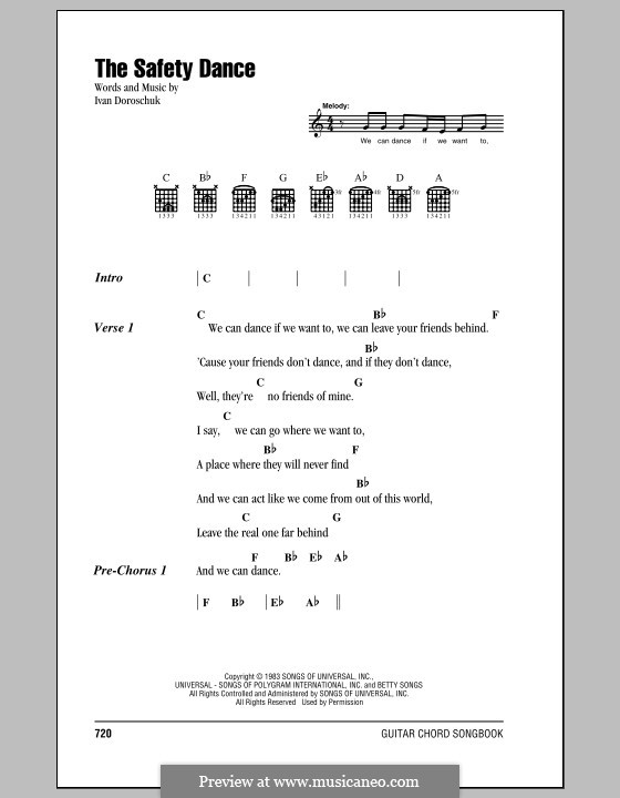 The Safety Dance: Lyrics and chords by Ivan Doroschuk