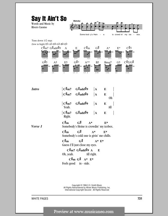 Say It Ain\'t So (Weezer) by R. Cuomo - sheet music on MusicaNeo