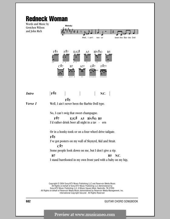 Redneck Woman By J Rich G Wilson Sheet Music On Musicaneo