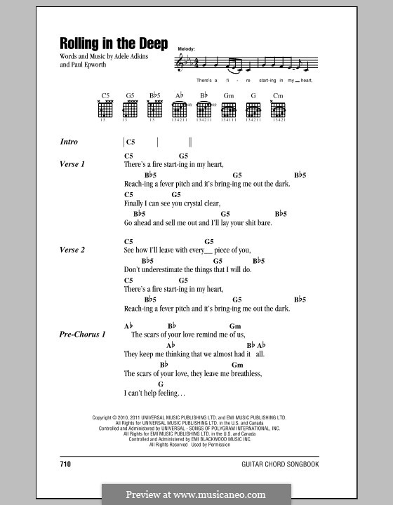 Rolling in the Deep: Lyrics and chords by Adele, Paul Epworth